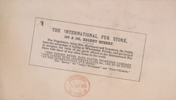 Advert for the International Fur Store, reverse side